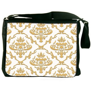 Snoogg Golden Pattern Digitally Printed Laptop Messenger  Bag