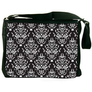 Snoogg White Pattern Digitally Printed Laptop Messenger  Bag