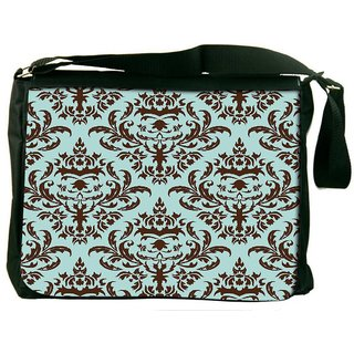 Snoogg Lite Blue Pattern Digitally Printed Laptop Messenger  Bag