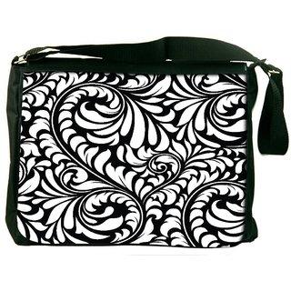 Snoogg White Leaves Digitally Printed Laptop Messenger  Bag
