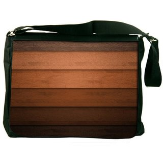 Snoogg Multicolor Wood Design Digitally Printed Laptop Messenger  Bag