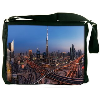 Snoogg Dubai City Digitally Printed Laptop Messenger  Bag