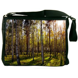 Snoogg Clean Forest Digitally Printed Laptop Messenger  Bag