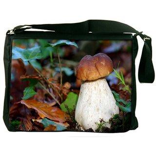 Snoogg White Mushroom Digitally Printed Laptop Messenger  Bag