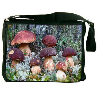 Snoogg Dark Red Mushroom Digitally Printed Laptop Messenger  Bag