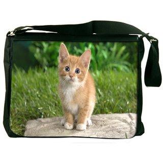 Snoogg Cute Cat Digitally Printed Laptop Messenger  Bag