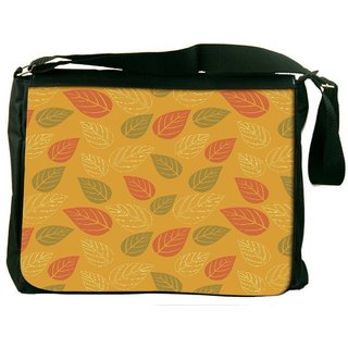 Snoogg Red And Green Leaves Yellow Pattern Digitally Printed Laptop Messenger  Bag