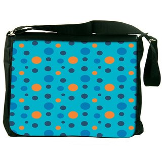Snoogg Colorful Spots In Blue Pattern Digitally Printed Laptop Messenger  Bag