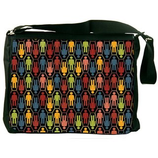 Snoogg Colorful Peoples Digitally Printed Laptop Messenger  Bag