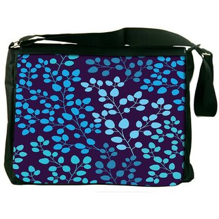Snoogg Blue Leaves Digitally Printed Laptop Messenger  Bag