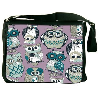 Snoogg Dull Owl Digitally Printed Laptop Messenger  Bag