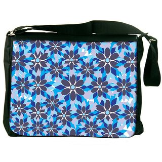 Snoogg Grey Floral Blue Digitally Printed Laptop Messenger  Bag