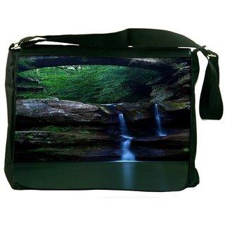 Snoogg Nature Waterfall Digitally Printed Laptop Messenger  Bag