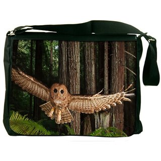 Snoogg Flying Owl Digitally Printed Laptop Messenger  Bag
