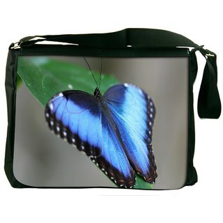 Snoogg Blue And Black Butterfly Digitally Printed Laptop Messenger  Bag