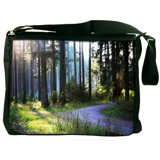 Snoogg Abstract Road In Forest Digitally Printed Laptop Messenger  Bag