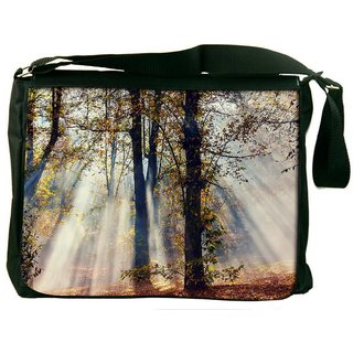 Snoogg White Smoked Forest Digitally Printed Laptop Messenger  Bag