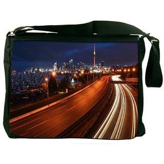 Snoogg Night Roads Digitally Printed Laptop Messenger  Bag