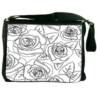 Snoogg Black Roses White Pattern Digitally Printed Laptop Messenger  Bag