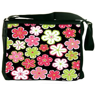 Snoogg Colorful Flowers Black Pattern Digitally Printed Laptop Messenger  Bag