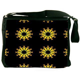Snoogg Yellow Flower Black Pattern Digitally Printed Laptop Messenger  Bag
