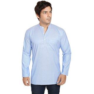 ARCH ELEMENTS Casual cotton Blue Plain Kurta For Mens