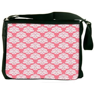 Snoogg Abstract White Pink Pattern 2 Digitally Printed Laptop Messenger  Bag
