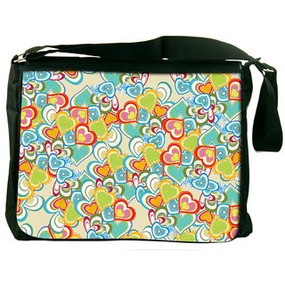 Snoogg Abstract Multicolor Hearts Digitally Printed Laptop Messenger  Bag