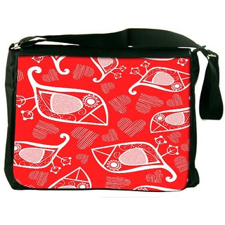 Snoogg White Birds Red Pattern Digitally Printed Laptop Messenger  Bag