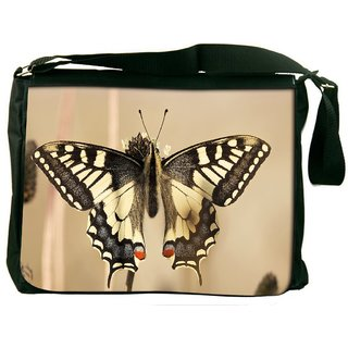 Snoogg Black Butterfly Digitally Printed Laptop Messenger  Bag