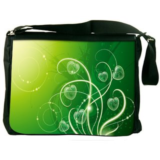 Snoogg Green Leaves Digitally Printed Laptop Messenger  Bag