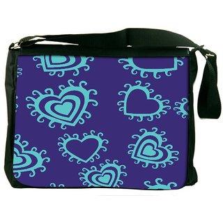 Snoogg Blue Hearts Purple Pattern Digitally Printed Laptop Messenger  Bag