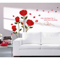 Walltola Romantic Rose Flowers Wall Decal (35X28 Inch)