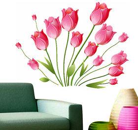 Walltola Pink Tulips Bouquet Wall Sticker (35X31 Inch)