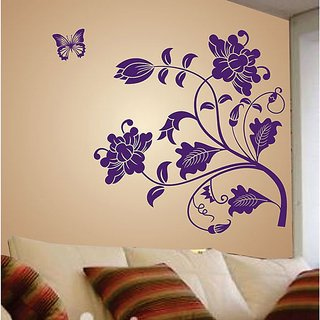 Walltola Pvc Purple Vine Flower Wall Sticker (45X55 Inch)