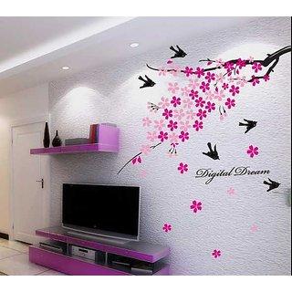 Walltola Pink Flower Branch with Birds Wall Sticker (PVC Vinyl, 50 cm x 70 cm)