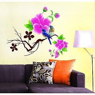 Pvc Blue Birds With Pink Flowers Wall Sticker (26X28 Inch)