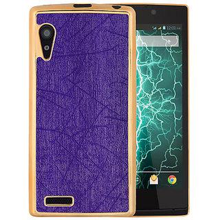 Casotec Electroplated Edge Chrome TPU Leather Back Case Cover for Lava Iris Fuel 60 - Purple