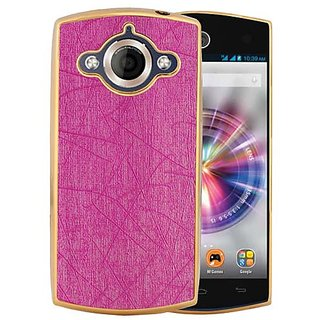 Casotec Electroplated Edge Chrome TPU Leather Back Case Cover for Micromax Canvas Selfie A255 - Pink