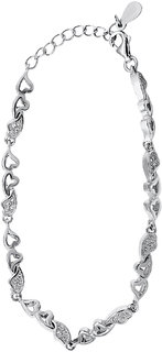 Shiyara Jewells Sterling Silver Total Love Bracelet With CZ Stones For Women(BR00514)