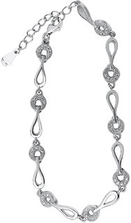 Shiyara Jewells Sterling Silver Two Links Bracelet With CZ Stones For Women(BR00515)