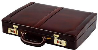 ZINT Men Hard Briefcase Genuine Leather Attache Doctor Lawyer Bag Vintage Style