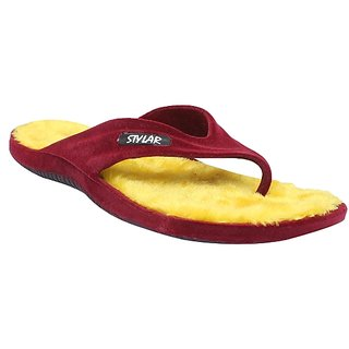 Stylar Royal Flip Flops (Cherry and Yellow)