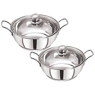 Pristine Stainless Steel Induction Compatible Sandwich Base Kadai Set with Glass Lid, 22cm / 25cm, Silver