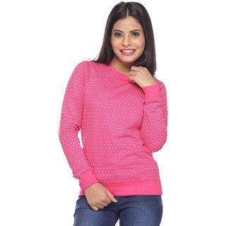 Mavie Pink Cotton Printed Sweatshirt For Women