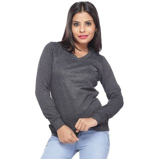 Lucky Charm Grey Woollen Solid Pullover For Women