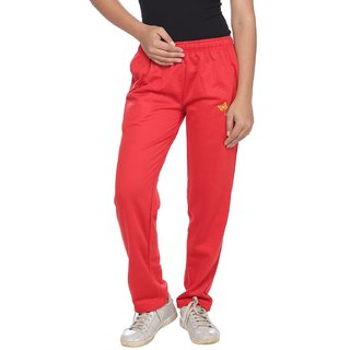 Brink Red Poly Cotton Solid Pyjama For Women