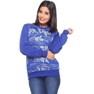 Brink Blue Cotton Printed Sweatshirt For Women