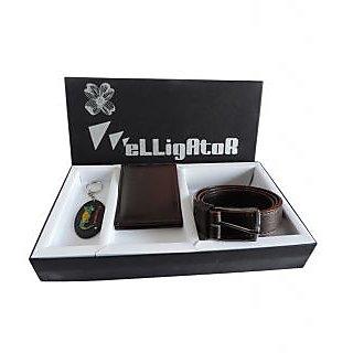 Elligator Stylish Gift Pack With Stylish Elligator Belt  Wallet And Keychain Combo