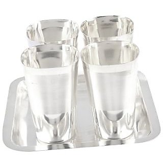 Expertdeal Silver Plated Square Met Finish Glass Set With Oval Tray 5 Pcs. ( 20Cmx20Cmx11Cm)